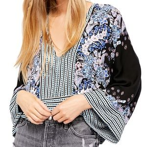 Free People printed floral kimono sleeve blouse